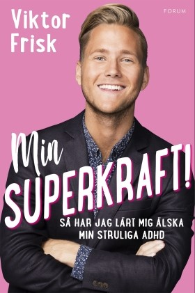 Viktor Frisk med boken Min superkraft!